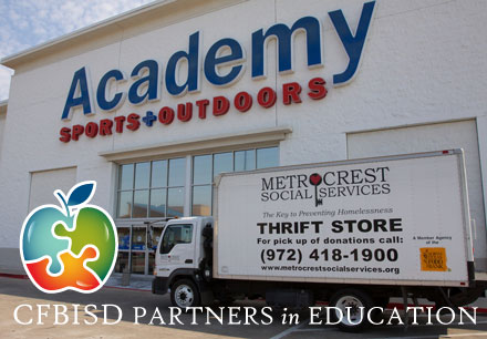 business partners, academy building, metrocrest services truck