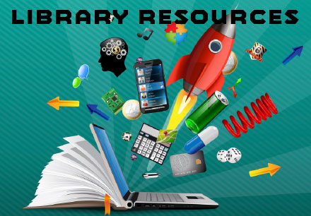 Library Resources graphic with text on green background. An open book morphs into a laptop computer with many contents flying out, including a spring, a smart phone, a calculator, a battery, dice, and several arrows
