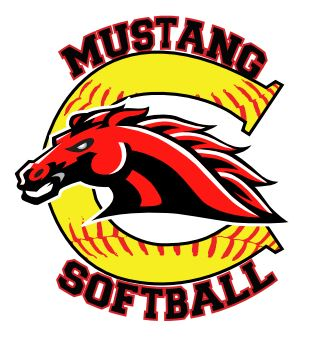 Mustang Softball logo with mascot