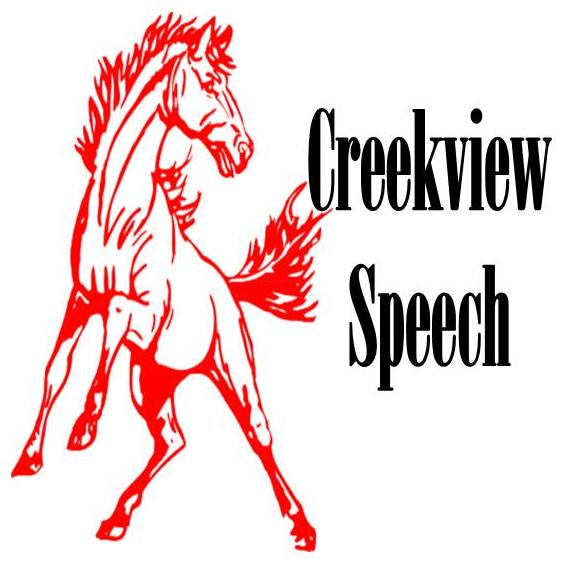 Creekview speech with mustang mascot on the right