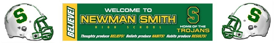 Newman Smith football helmets and welcome banner