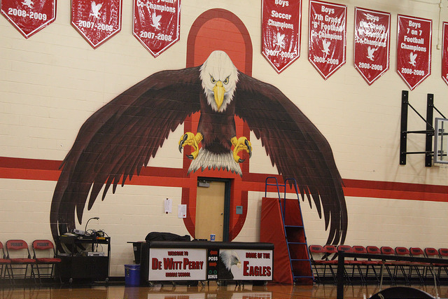 mural at perry middle school in the gym of their mascot, an eagle.