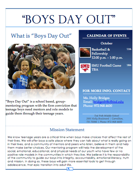 Boys day out is a school based, group mentoring program with the firm conviction that teenage boys need mentors and role models to guide them through their teenage years