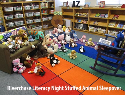 Numerous stuffed animals in the library set up as if another stuffed animal is reading to the others while they sit on the floor.
