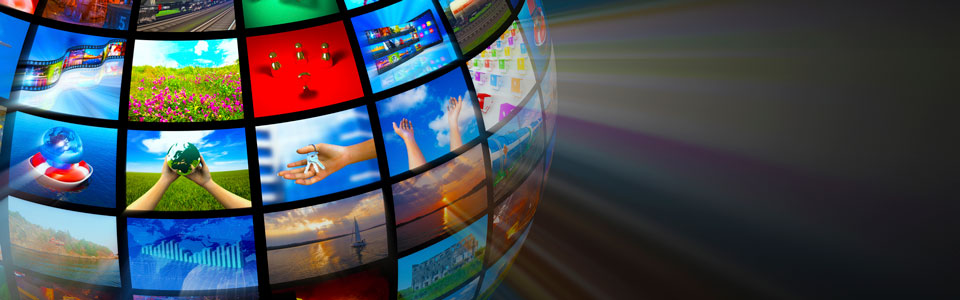 globe of TV's showing various shots of the world