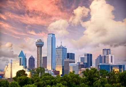 skyline of Dallas at sunset