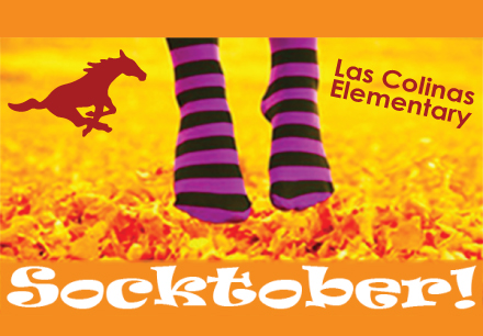 Socktober picture with Las Colinas Elementary mascot