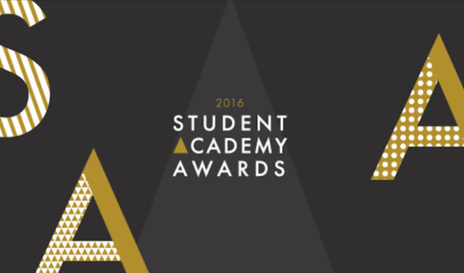 Official logo of the Student Academy Awards for 2016. Black back ground with the text 2016 Student Academy Awards in white