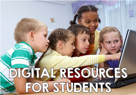 Digital resources for students. A group of students collaborating on a computer.