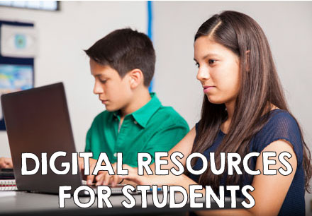 digital resources for students. Two students on a computer.