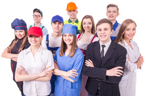 a group of young adults dressed in career outfits. Businessman, nurse, construction worker