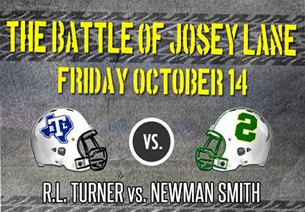 Battle of Josey Lane with a Newman Smith football helmet and a RL Turner Football helmet