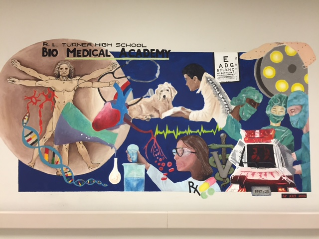 A mural representing the Biomed Academy