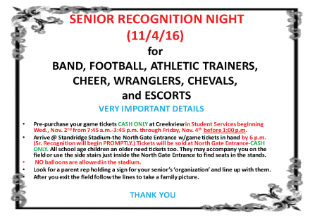 Senior Recognition night at Standridge Stadium on November 4
