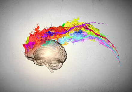image of a brain with a rainbow color pallette