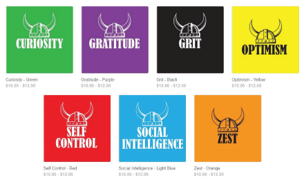 Field Middle School Shirt options. Red, Green, Purple, Black, yellow and orange.