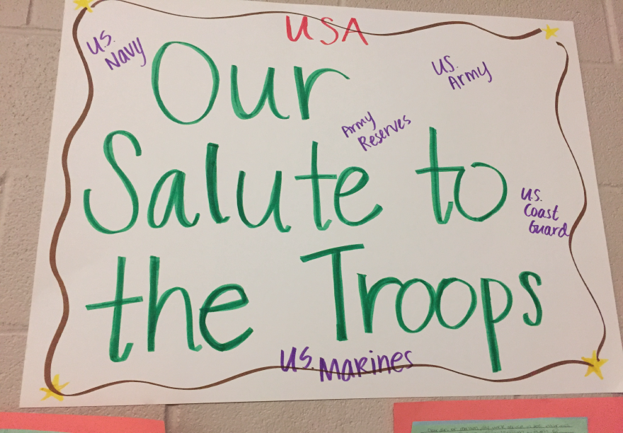 Our Salute to the Troops poster made by stuidents