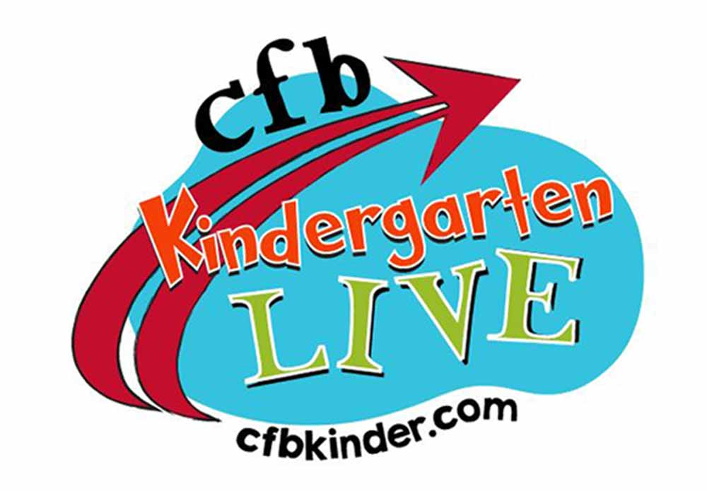 CFBISD kidergarten live logo with red swooping arrow with text saying cfb kindergarten live