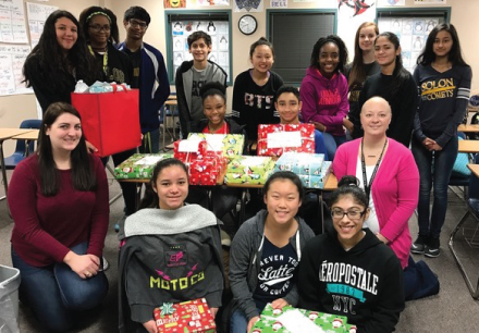 "At Barbara Bush Middle School, these IB students are caring and principled when it comes to giving to others. This group is called ""Bronco Lead"", and they took it upon themselves to raise money for an Angel Tree. They collected donations ranging from pennies to $200 from their own family members, teachers and students, during lunch and morning tutorials. Together, they raised $600 to ""adopt"" eight needy students right here at Bush Middle School. Each student will receive books, clothing and a fun item that was on their wish list. The concern shown by these students is another great example of service in action here at this International Baccalaureate World School. Way to go Broncos!"
