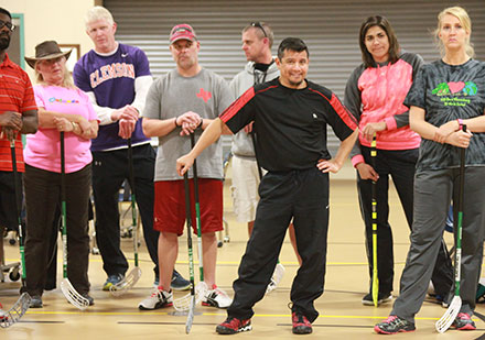 Dallas Fitness Stars teach Floorball to CFB P.E. teachers