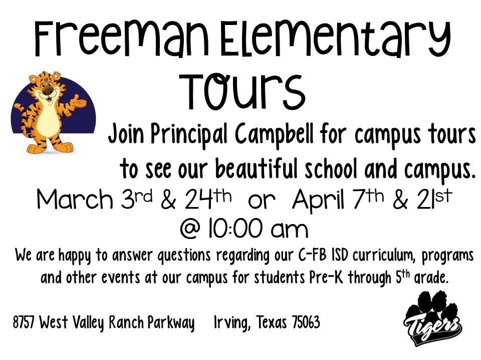 Join Principal Campbell for campus tours to see our beautiful school! Tours will take place on the following dates: March 3rd & 24th, April 7th & 21st Each tour will begin at 10:00AM.