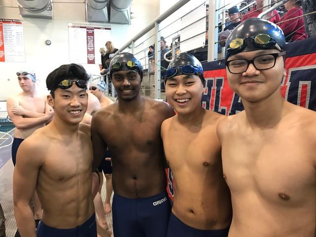 Quang Nguyen, Sai Senpon, Ishan Mistry, Max Matsushita, Nathan Loh were your swimming Wolves who competed this past weekend against 23 other teams at the Regional Swim Meet this past weekend in Frisco. They all swam with Ranchview pride and broke 2 school records in the process! Ishan Mistry, Quang Nguyen, Sai Senpon, and Max Matsushita set a NEW SCHOOL RECORD in the 200 Medley Relay to start off the meet for the boys.