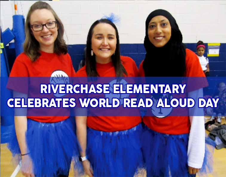 teachers at Riverchase Elementary in CFVISD dress up for World Read Aloud Day