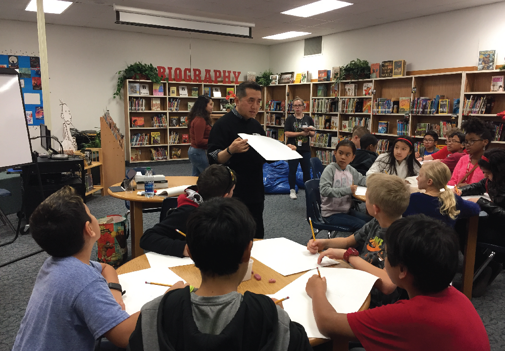 Brookhaven Art Professor, Chong Chu wowed 5th grade art students at Furneaux with his drawing demonstration. His energy and artistic style challenged each student to explore their creativity.