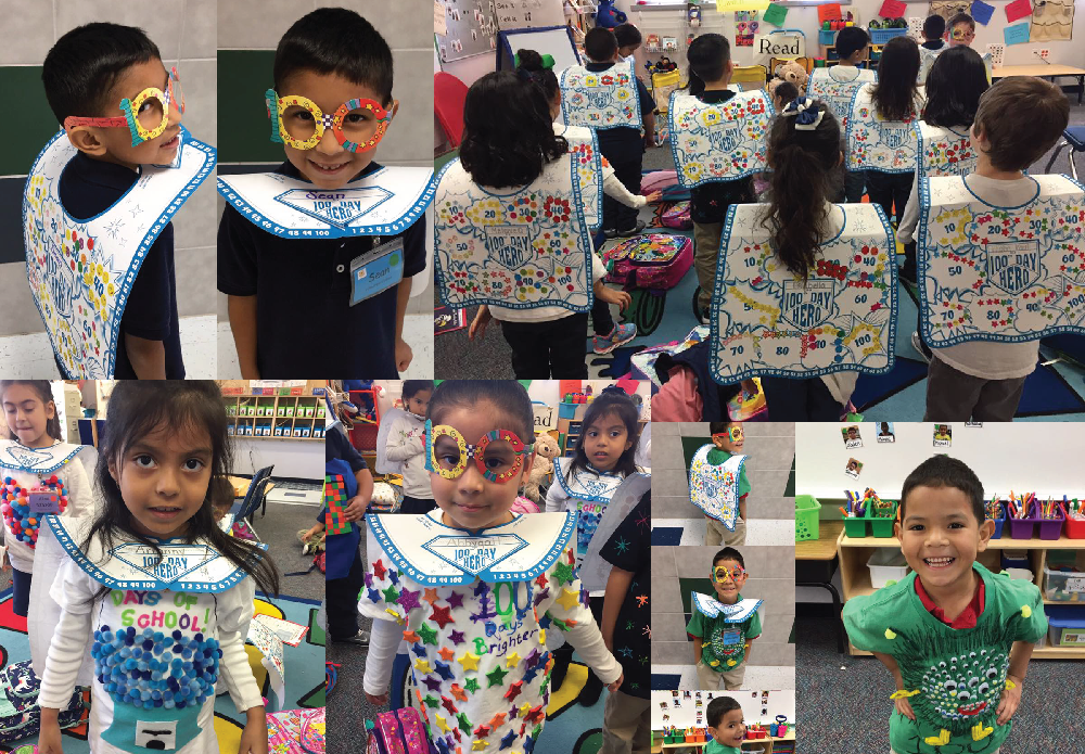 """The """"100 Day Heroes"""" celebrates the 100th day of school. Kids participate in various activities such as counting 100 items and making 10 sets of 10 items in celebration of the 100th day they been in school."""