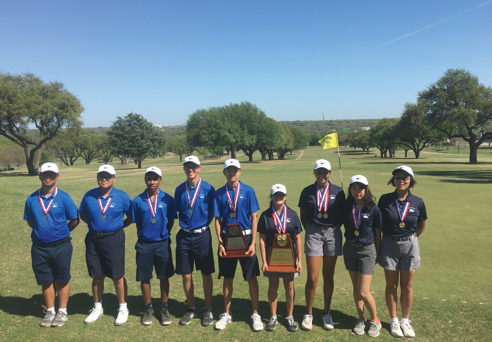 The Ranchview women's golf team earned the schools 6th district women's golf title at Tenison Golf Park on Wednesday March 22 and Thursday March 23rd and became District 10-4A Champions. Senior Ava Castillo captured her 4th district low medalist honor! The men's team placed second. Junior Andrew Ahn shot a personal best 77 and finished in second place as a medalist. Ranchview golfers include: Senior Ava Marie Castillo Senior Priyanka Pohar Senior Ann Marie Wang Junior Joann Yang Senior Scott Williams Junior Andrew Ahn Sophomore Zhongyuan Wang Freshman Noah Kim Freshman Kiano Kelly Both Teams advance to Regionals at the Van Zandt Country Club in Canton April 24-27 Congratulations!