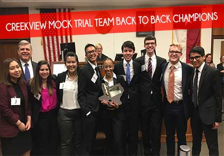 Creekview mock trial team holds trophy from their win