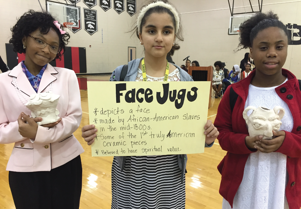 "On February 24th, the students at Barbara Bush Middle School participated in a school-wide assembly to commemorate Black History Month. Various theater students dressed up and spoke as prominent figures in History including Maya Angelou and Oprah Winfrey. Other students chose to learn songs and sing for the assembly in between talks. Art students created ""Face Jugs that have historical significance from early American history. All of the students were taught by the guest speaker, Mrs. Dionne Williams, Engineering Manager at Lockheed Martin. She spoke to the students about how she earned her multiple degrees and how she kept working on things that are important to her. The assembly was a wonderful way to cap off our learning about many of the important contributions made by African-Americans throughout history"