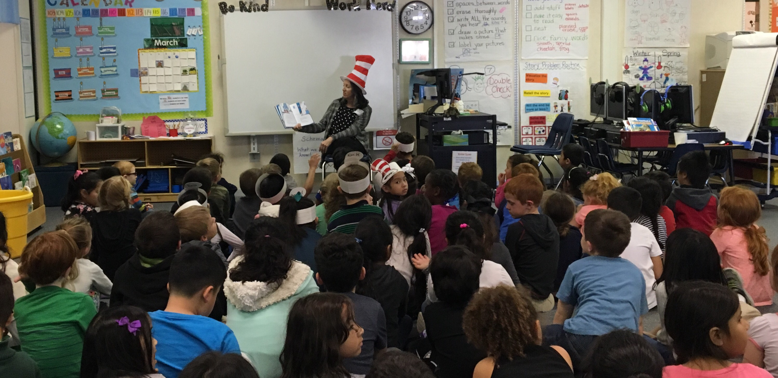 "Furneaux Elementary commemorate Dr. Seuss' Birthday & National Read Across America Day by reading numerous Dr. Seuss books to Furneaux students. Furneaux had two very special readers come in to read to them. Mrs. Brown from Metrocrest Services and Mrs. Parker. Mrs. Parker also wore a ""Cat in the Hat"" themed hat as she read to the students."