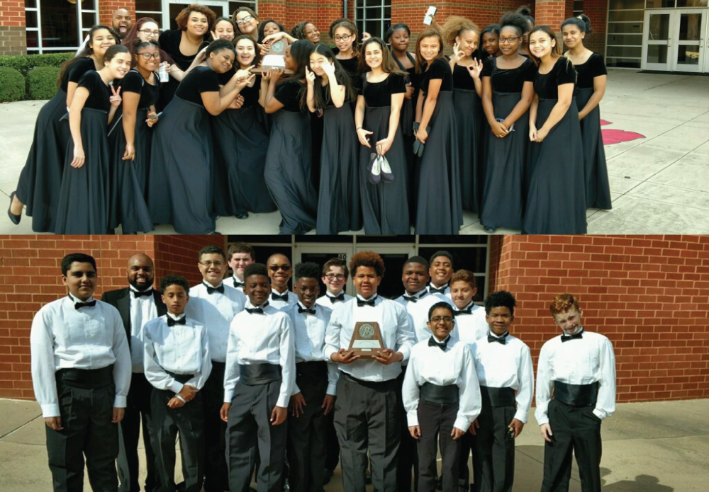 Barbara Bush Middle School Choir students had a great two days at the UIL Competition. All of the Choir represented Barbara Bush extremely well in concert and in sight-reading. Both groups received the highest ratings possible: Superior (I) scores from all of their judges. SWEEPSTAKES trophies for both! We are so extremely proud of all of these young men and women in BBMS choir.