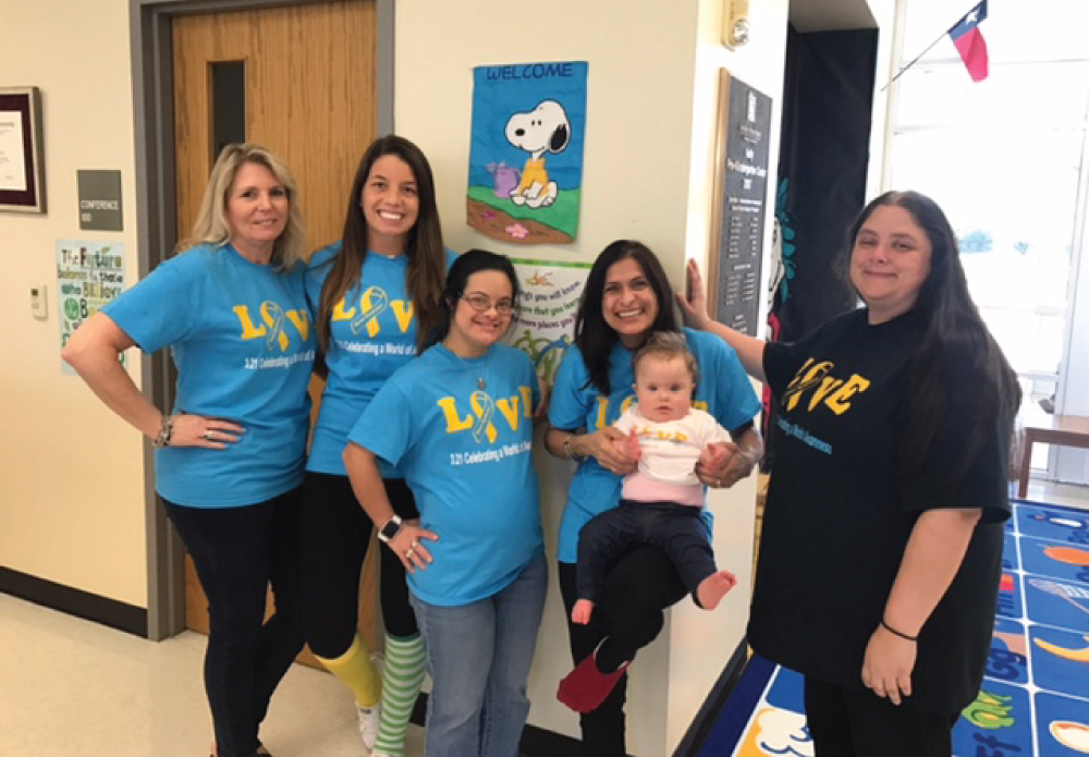 The Child Development Academy (CDA) is a day care for CFBISD employees only. It strives to provide a warm and nurturing atmosphere for all ages. On Tuesday, March 21st, the teachers at the CDA commemorated World Down Syndrome Day by wearing matching shirts. World Down Syndrome Day (WDSD), observed on 21 March every year, is a global awareness day which has been officially observed by the United Nations since 2012. Down Syndrome International encourages our friends all over the world to choose their own activities and events on WDSD to help raise awareness of what Down syndrome is, what it means to have Down syndrome, and how people with Down syndrome play a vital role in our lives and communities.