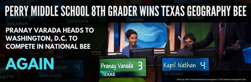 Two-time Geography Bee Winner, Pranay Varada