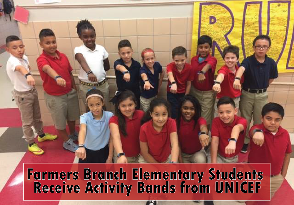 "Through the organization of UNICEF, our school was accepted for a program called ""The UNICEF Kid Power Band."" Farmers Branch Elementary received 40 activity bands. The UNICEF Kid Power Band empowers kids to get active, go on fun missions with famous champions and send lifesaving therapeutic food packets to kids in need. This program is beneficial in 3 ways: Count Steps - Have fun setting daily activity goals with friends and family Tell Time - It's a watch, too, so kids won't ever lose track of time when they're having fun Earn Rewards - Kids take steps to help malnourished kids around the world The more a student moves (wearing the band), the more food packets will be donated. So far, our students have moved enough to send over 400 food packets! What an amazing program that encourages movement while helping others! Thanks UNICEF and way to go Mustangs!"