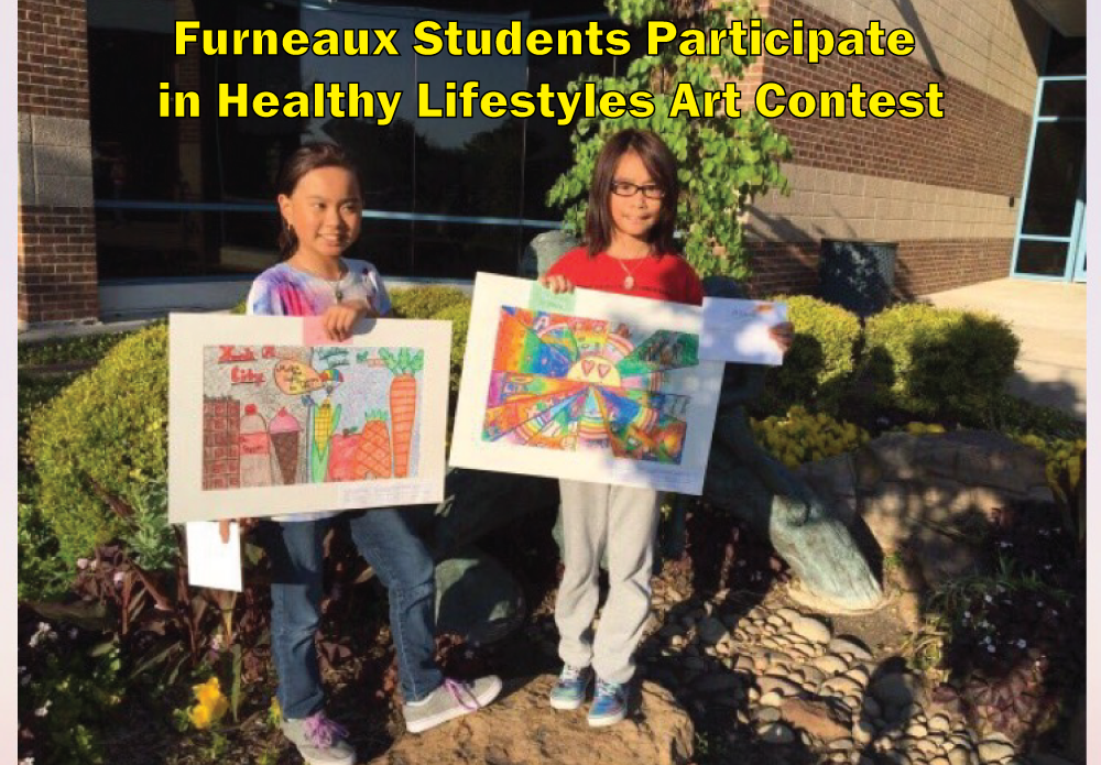 On Monday, March 27th, CFBISD held an art competition in order to celebrate Healthy Lifestyles, Mind, Body and Spirit. 3rd-12th grade were able to participate in this competition. An art exhibit and awards were planned at the Farmers Branch Community Recreation Center to give friends, family and the community an opportunity to appreciate all entries and student artists. Two Furneaux Elementary students participated in this competition. Congratulations to future artists, Kaylee and Christy Dang for representing Furneaux in the Healthy Lifestyles Art Contest!