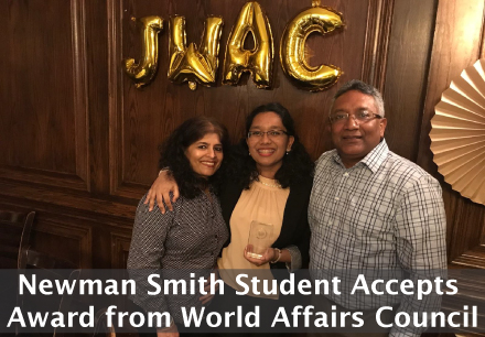 Newman Smith Student Accepts Award from World Affairs Council