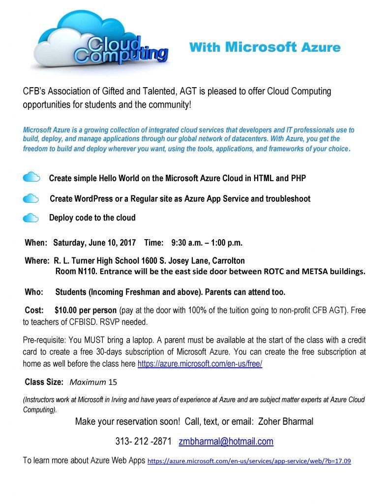 Microsoft azure cloud computing platform services - Cloud Computing With Microsoft Azure When Saturday June 10 2017 Time 9 30 A M 1 00 P M Where R L Turner High School 1600 S Josey Lane