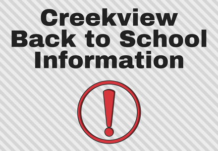 Creekview Back to School Information